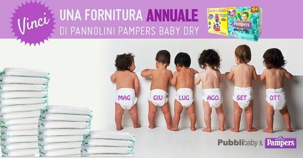Vinci pannolini Pampers con Pubblibaby