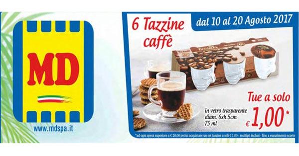 Set 6 Tazzine Vetro Brasilia a 1 Euro