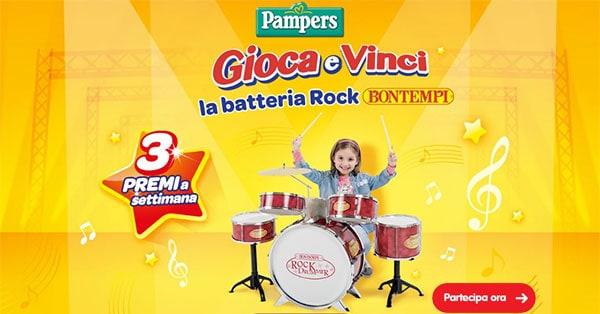Concorso Pampers Gioca e vinci la Batteria Rock
