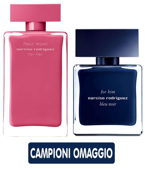 Campioni omaggio di Fleur Musc e Bleu Noir di Narciso Rodriguez