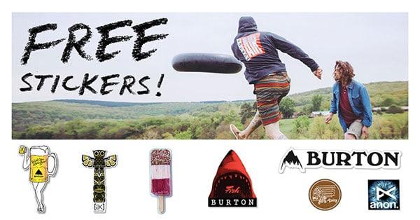 richiedi gratis un kit di adesivi Burton