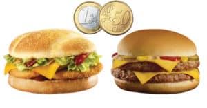 McDonald's: double cheese burger o double chicken bbq a 1,50 Euro