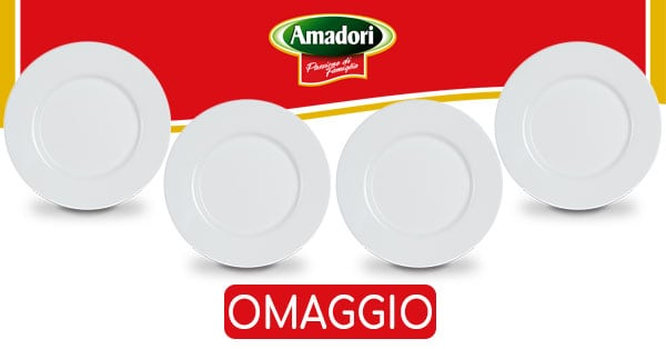 Set piatti piani in omaggio da Amadori
